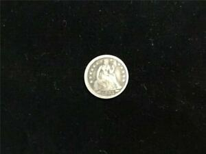 1853 ARROWS SEATED LIBERTY DIME US UNITED STATES COIN 90  SILVER F/VF