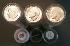 Click now to see the BUY IT NOW Price! 1955 P 1955 D & 1955 S UNC/BU ROOSEVELT DIME ROLLS   150 COINS TOTAL