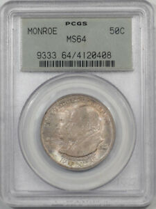 1923 MONROE COMMEMORATIVE HALF DOLLAR PCGS MS 64