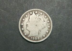 1908 WITH CENTS LIBERTY V NICKEL US COIN M1218