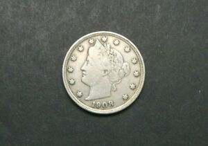 1908 WITH CENTS LIBERTY V NICKEL US COIN M1217
