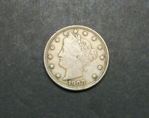 1908 WITH CENTS LIBERTY V NICKEL US COIN M1215