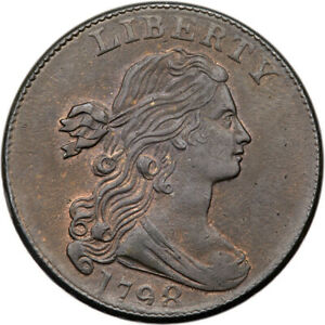 1798 S 166 PCGS MS 63 BN CAC DRAPED BUST LARGE CENT COIN 1C