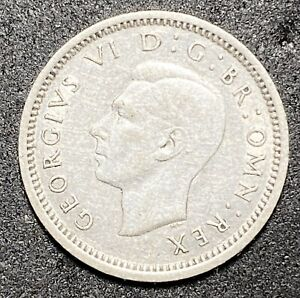 1942 GREAT BRITAIN  3 PENCE EDWARD VI 0.800 SILVER 86  975