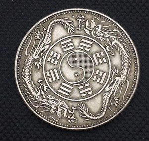 LUCKY CHINESE COIN TONGBAO DOUBLE DRAGONS ANCIENT STYLE UNIQUE FENG SHUI ZODIAC
