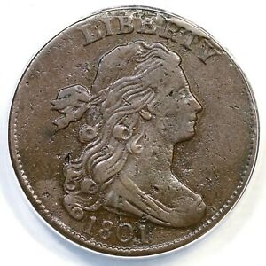1801 S 223 ANACS EF 40  1/000  DETAILS DRAPED BUST LARGE CENT COIN 1C