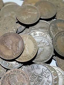 ROLL OF 50 KING GEORGE V 1920 1936 CANADA  CENTS  COINS  NO 1922 TO 1927  229