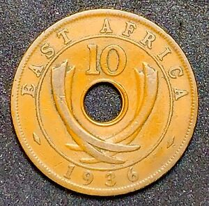 1936 EAST AFRICA 10 CENTS GEORGE V KM26 BRONZE  874