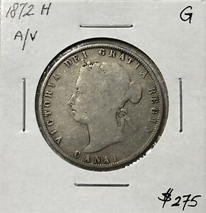 CANADA 1872 H INVERTED A/V SILVER 50 CENTS