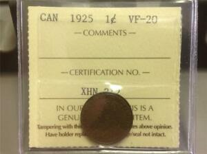 1925   ICCS   VF 20   SMALL CENT   SCROLL DOWN FOR ALL IMAGES