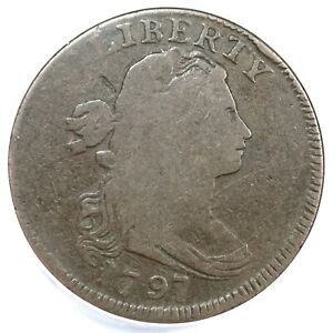 1797 S 120B R 2 ANACS G 6 DRAPED BUST LARGE CENT COIN 1C
