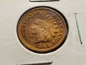 1864 INDIAN HEAD CENT BRONZE OBVERSE TONING     INV12   P1208