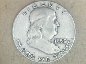 1958 D SILVER FRANKLIN HALF DOLLAR    GREAT GIFT IDEA     WILL SHIP FOR FREE