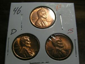 1946 P D S LINCOLN WHEAT CENT SET FROM ROLLS.