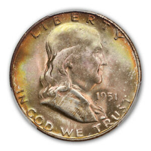 Click now to see the BUY IT NOW Price! 1951 S 50C FRANKLIN HALF DOLLAR PCGS MS67