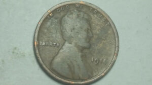 1916 P LINCOLN WHEAT PENNY PENNY STRUCK THROUGH GREASE ERROR COIN
