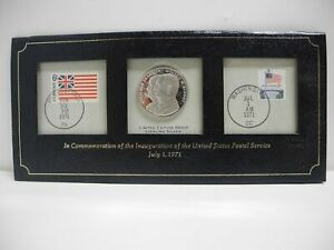 1971 COMMEMORATION OF INAUGURATION US POSTAL SERVICE STERLING SILVER COIN STAMPS