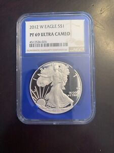 2012 S PROOF SILVER EAGLE NGC PF69 ULTRA CAMEO $1 SILVER OZ NGC SLABBED