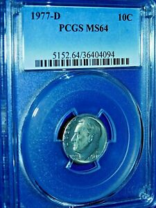 Click now to see the BUY IT NOW Price! 1977 D 10C ROOSEVELT DIME PCGS MS64  476 1