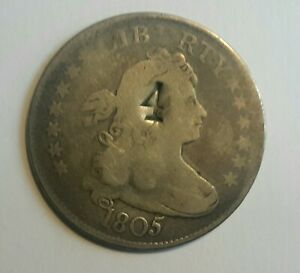 1805 BUST QUARTER WITH COUNTERSTAMPS