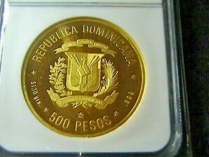 Click now to see the BUY IT NOW Price! 1982 GOLD DOMINICAN REPUBLIC .500 PESOS NGC PF 64