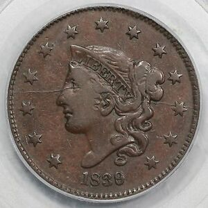 Click now to see the BUY IT NOW Price! 1839/6 N 1 PCGS VF 35 MATRON OR CORONET HEAD LARGE CENT COIN 1C
