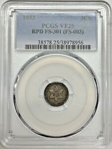 Click now to see the BUY IT NOW Price! 1853 3CS THREE CENT PCGS VF25 RPD FS 301  SILVER VARIETY REGISTRY COIN