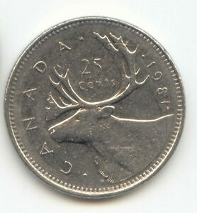 CANADA 1981 QUARTER CANADIAN 25C TWENTY FIVE CENTS 25 C EXACT COIN SHOWN