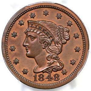 Click now to see the BUY IT NOW Price! 1848 N 19 R 6  PCGS PR 60 BN BRAIDED HAIR LARGE CENT COIN 1C