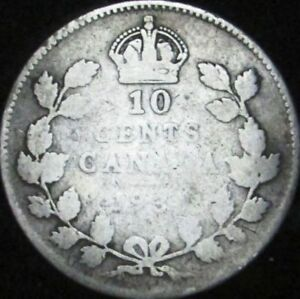 1931 GOOD  DETAILS DAMAGED CANADA SILVER 10 CENTS   KM 23A   JG