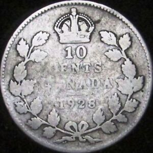 1928 VG CANADA SILVER 10 CENTS   KM 23A   JG