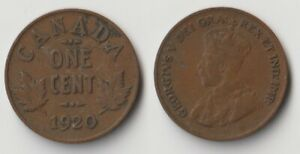 1920 CANADA 1 CENT COIN