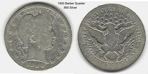 US 1900 BARBER QUARTER .900 SILVER TAKE A LOOK