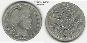 US 1910 BARBER QUARTER .900 SILVER TAKE A LOOK