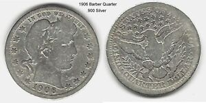 US 1906 BARBER QUARTER .900 SILVER TAKE A LOOK