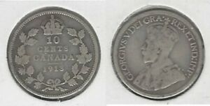 CANADIAN 1913 SML DIME .800 SILVER COIN
