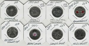 CANADIAN SET OF 8 COMMEMORATIVE QUARTERS NICE ASSORTMENT  TAKE A LOOK