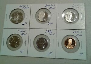 LOT OF 6 MODERN PROOFS  2005 S QUARTER 1961 2019 S NICKELS & 2005 S CENT.