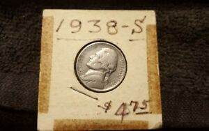 1938 S JEFFERSON NICKEL US COIN 5 NICE SEE ACTUAL PICTURES KEY COIN 4.1 MINTAGE