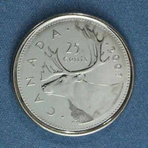 CANADA 2001 P QUARTER  25 CENTS  FROM A MINT ROLL