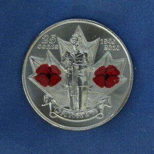 CANADA 2010 REMEMBERANCE POPPY QUARTER  25 CENTS  FROM A MINT ROLL