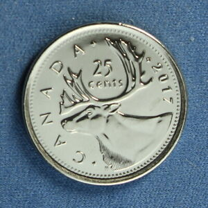 CANADA 2017 QUARTER  25 CENTS  FROM A MINT ROLL   FROM A CLASSIC REVERSE SET