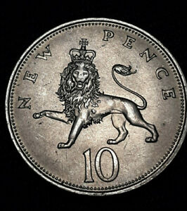 1968 GREAT BRITAIN UK 10 NEW PENCE 1968 ELIZABETH II NICE COLLECTOR COIN