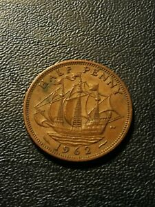 GREAT BRITAIN HALF PENNY 1962 COINS CHOOSE A COIN