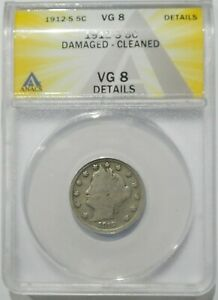 1912 S LIBERTY V NICKEL ANACS CERTIFIED VG8 DETAILS   KEY COIN