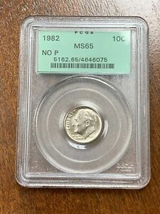 1982 ROOSEVELT DIME NO P STRONG. PCGS MS 65 OLD GREEN HOLDER. MINT ERROR
