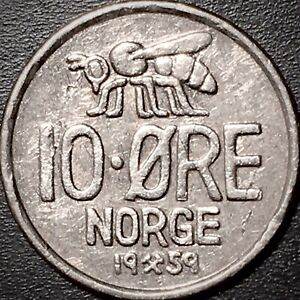 1959 NORWAY 10 ORE LAMINATION CRACK ERROR NORGE BEE KM 411 WORLD COIN