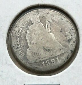 1891 SEATED LIBERTY DIME   GOOD