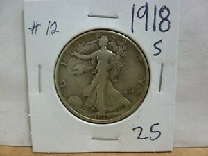 1918 S WALKING LIBERTY SILVER HALF DOLLAR 12