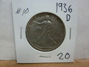 1936 D WALKING LIBERTY SILVER HALF DOLLAR 10
